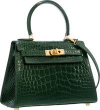 Hermes 20cm Shiny Vert Fonce Alligator Mini Sellier Kelly Bag with Gold Hardware Very Good Condition
