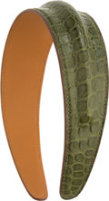 "Luxury Accessories:Accessories, Hermes Petit H Collection Matte Vert Veronese Crocodile Headband.Pristine Condition. 5"" Width x 5.5"" Height x 1.5""De..."