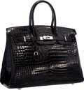 "Luxury Accessories:Bags, Hermes 35cm Shiny Black Porosus Crocodile Birkin Bag with PalladiumHardware . Excellent Condition . 14"" Width x 10"" H..."