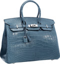 "Luxury Accessories:Bags, Hermes 35cm Matte Blue Tempete Alligator Birkin Bag with Palladium Hardware. Excellent Condition . 14"" Width x 10"" Hei..."