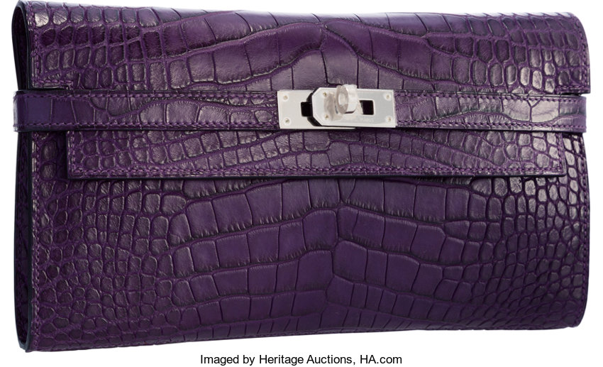 a6b011be69 Hermes Matte Amethyst Alligator Kelly Long Wallet with