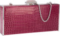 "Luxury Accessories:Bags, Judith Leiber Pink Crocodile East West Clutch Bag with SilverHardware . Very Good to Excellent Condition . 7.5""Width..."