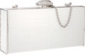 "Luxury Accessories:Bags, Judith Leiber White Crocodile East West Clutch Bag . Very Goodto Excellent Condition . 7.5"" Width x 3.5"" Height x1.5..."