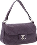 "Luxury Accessories:Bags, Chanel Purple Quilted Leather On The Road Bag with Silver Hardware.Excellent Condition. 12"" Width x 6"" Height x 4"" Depth..."