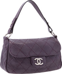 """Chanel Purple Quilted Leather On The Road Bag with Silver Hardware Excellent Condition 12"""" Width x 6"""" Height..."""