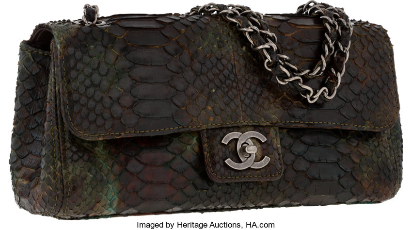 8f93bff77652 ... Luxury Accessories:Bags, Chanel Brown & Green Python Medium Single  Flap Bag with ...