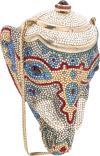 Judith Leiber Full Bead Blue & Silver Crystal Elephant Head Minaudiere Evening Bag Good to Very Good Condition