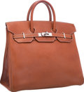 "Luxury Accessories:Bags, Hermes 32cm Natural Barenia Leather HAC Birkin Bag with Palladium Hardware. Good Condition. 12.5"" Width x 10.5"" Height..."