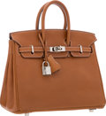 "Luxury Accessories:Bags, Hermes 25cm Natural Barenia Leather Birkin Bag with PalladiumHardware. Good to Very Good Condtion. 9.5"" Width x 8""He..."