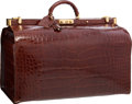 "Luxury Accessories:Travel/Trunks, Harrison James Brown Crocodile Doctor Travel Trunk. Very Good Condition. 20"" Width x 13.5"" Height x 12"" Depth. ..."