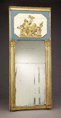 Furniture : Continental, A Continental Giltwood and Painted Truneau Mirror. Early 19thcentury. Giltwood. 83 inches high x 34 inches wide. ...