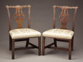 Furniture , A Pair of Chinese Chippendale Mahogany Side Chairs. . Unknown maker, English. Late 18th Century. Mahogany. Unmarked. 17 inch... (Total: 2 Items)