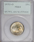 Washington Quarters: , 1932-D 25C MS64 PCGS. . PCGS Population (507/63). NGC Census:(200/16). Mintage: 436,800. Numismedia Wsl. Price for NGC/PCG...