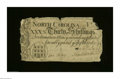 Colonial Notes:North Carolina, North Carolina March 9, 1754 30s Very Fine, damaged. Sewn ...