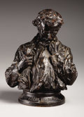 Paintings, Bust of Edgar Allen Poe. . George Julian Zolnay, Hungarian (1863-1949). Bronze with brownish black patination. Incis...