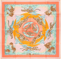 "Luxury Accessories:Accessories, Hermes 90cm Pink & Green ""Guepards,"" by Robert Dallet SilkScarf . Excellent to Pristine Condition . 36"" Width x 36""L..."
