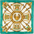 "Luxury Accessories:Accessories, Hermes 90cm Green & White ""Egypte,"" by Caty Latham Silk Scarf.Excellent Condition. 36"" Width x 36"" Length. ..."