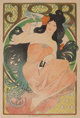 ALPHONSE MUCHA (Czechoslovakian, 1860-1939) Job Cigarette Papers, 1898 Color poster on wove paper laid on canvas 59-1