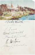 Baseball Collectibles:Others, 1934 Tour of Japan Partial Team Signed Postcard with Ruth, Foxx....