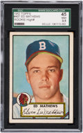 Baseball Cards:Singles (1950-1959), 1952 Topps Eddie Mathews #407 SGC 45 VG+ 3.5. ...