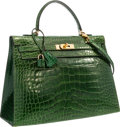 """Luxury Accessories:Bags, Hermes 35cm Shiny Vert Emerald Alligator Sellier Kelly Bag withGold Hardware. Good Condition. 14"""" Width x 10"""" Height..."""