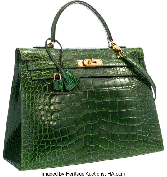 f5117ab1f89a Hermes 35cm Shiny Vert Emerald Alligator Sellier Kelly Bag