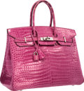 "Luxury Accessories:Bags, Hermes 35cm Shiny Fuchsia Porosus Crocodile Birkin Bag withPalladium Hardware. Good Condition. 14"" Width x 10""Height..."