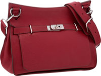 Hermes 34cm Rouge Garance Clemence Leather Jypsiere Bag with Palladium Hardware Fair Condition 13