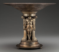 OSCAR B. BACH ACID ETCHED, PATINATED AND GILT BRONZE TAZZA, New York, New York, circa 1922 Marks: O'BASO-BRONZE