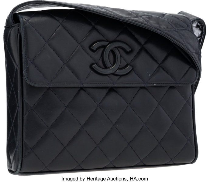 cbb3d70b59a8b6 Luxury Accessories:Bags, Chanel Navy Blue Quilted Lambskin Leather Shoulder  Bag with GoldHardware.