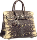 "Luxury Accessories:Bags, Hermes 25cm Ombre Ring Lizard Birkin Bag with Palladium Hardware.Excellent Condition. 9.5"" Width x 8"" Height x 5""Dep..."