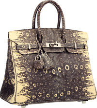 "Hermes 25cm Ombre Ring Lizard Birkin Bag with Palladium Hardware Excellent Condition 9.5"" Width x"