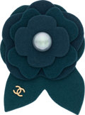 """Luxury Accessories:Accessories, Chanel Green & Blue Felt Camelia Brooch with Glass Pearl Accent. Excellent to Pristine Condition. 2.5"""" Width x 3.5"""" He..."""