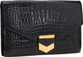 """Luxury Accessories:Bags, Hermes Shiny Black Caiman Crocodile Pan Clutch Bag with Gold Hardware. Good Condition. 10"""" Width x 6.5"""" Height x 1"""" De..."""