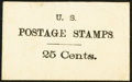 Large Size:Demand Notes, Anonymous U.S. POSTAGE STAMPS 25 Cents. PE849. Extremely Fine.. ...