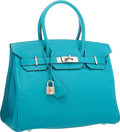 """Luxury Accessories:Bags, Hermes 30cm Turquoise Chevre Leather Birkin Bag with PalladiumHardware. Very Good to Excellent. 12"""" Width x 8"""" Height x6..."""