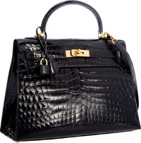 Hermes 32cm Shiny Black Nilo Crocodile Sellier Kelly Bag with Gold Hardware Very Good Condition 1