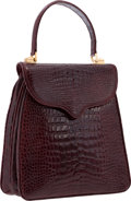 "Luxury Accessories:Bags, Lana Marks Shiny Burgundy Crocodile Princess Diana Bag. VeryGood Condition. 9"" Width x 9"" Height x 4"" Depth.CI..."