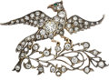 Estate Jewelry:Brooches - Pins, Antique Diamond, Emerald, Gold, Silver Brooch. ...
