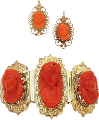 Coral Cameo, Gold Jewelry Suite