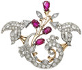 Estate Jewelry:Brooches - Pins, Retro Diamond, Ruby, Platinum, Pink Gold Brooch. ...