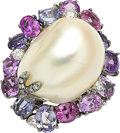 Estate Jewelry:Rings, Sapphire, Diamond, South Sea Cultured Pearl, Gold Ring. ...