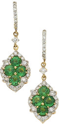 Estate Jewelry:Earrings, Tsavorite Garnet, Diamond, Gold Earrings, Piranesi. ...