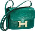 "Luxury Accessories:Bags, Hermes 18cm Matte Malachite Alligator Double Gusset Constance Bagwith Permabrass Hardware. Pristine Condition. 7""Wid..."