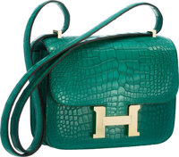 Hermes 18cm Matte Malachite Alligator Double Gusset Constance Bag with Permabrass Hardware Pristine Condition</...
