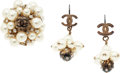 """Luxury Accessories:Accessories, Chanel Gold, Glass Pearl, & Crystal Ring and Earrings. GoodCondition. 1"""" Width x 1"""" Height. Proceeds tobenefit..."""