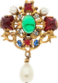 "Luxury Accessories:Accessories, Chanel Gold, Green & Red Gripoix, Glass Pearl, and CrystalBrooch. Good Condition. 2"" Width x 3"" Length.Proceed..."