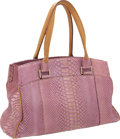 "Luxury Accessories:Bags, VBH Metallic Pink Python Medium Via Tote Bag. Very Good toExcellent Condition. 15"" Width x 9"" Height x 5"" Depth...."