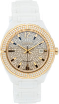 "Luxury Accessories:Accessories, Versace diamond, Gold Plated Stainless Steel & White EnamelAutomatic Watch. Excellent Condition. 1.75"" Width x 7.5""L..."