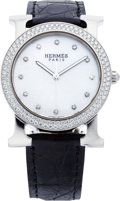 "Luxury Accessories:Accessories, Hermes Diamond & Stainless Steel H Hour Round Watch with BlackCrocodile Strap. Excellent Condition. 1.25"" Width x 6""..."